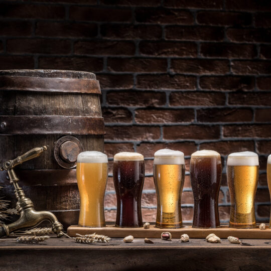 Barrel of Beer with beer glasses
